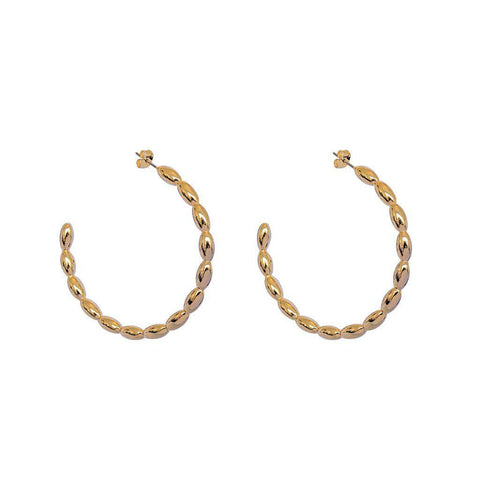 NAOMI GOLD DETAILED FASHION HOOP EARRINGS