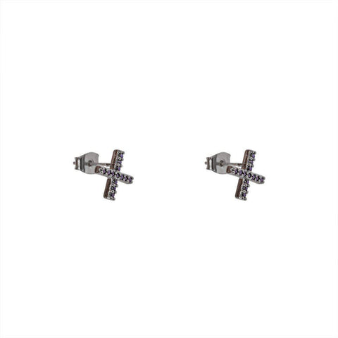 NICOLA CROSS CRYSTAL BLACK STUDS EARRINGS