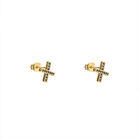 NICOLA CROSS CRYSTAL GOLD STUDS EARRINGS