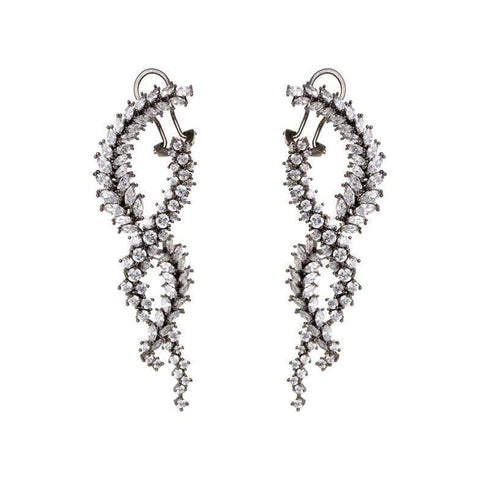 NISHA GUNMETAL CRYSTAL TWIST DROP EARRINGS