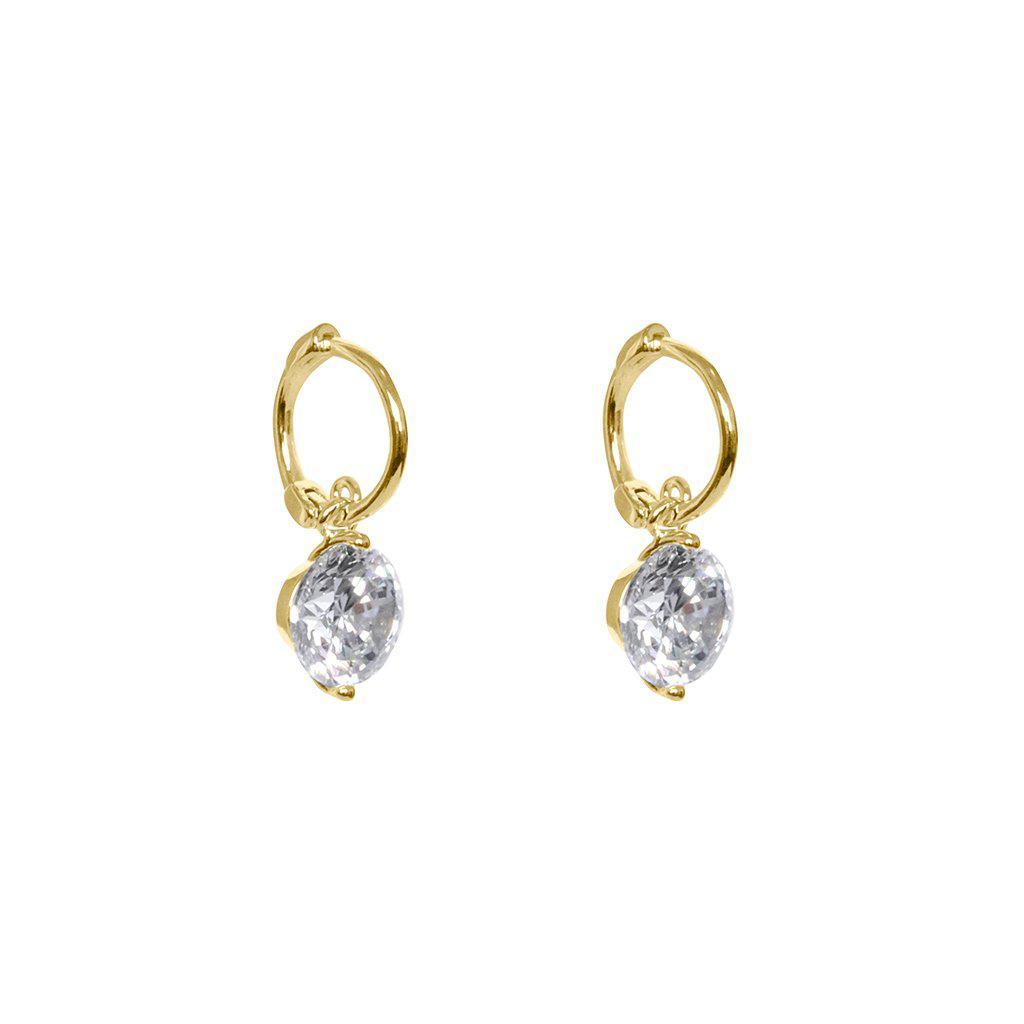 NIEVE LARGE CRYSTAL GOLD HUGGIES EARRINGS