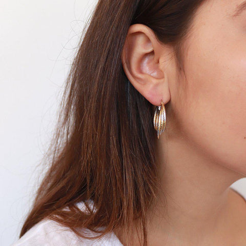 NILAH GOLD AND SILVER HOOPS EARRINGS