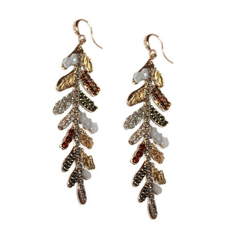 NILI LEAF BRONZE SEMI-PRECIOUS CRYSTAL EARRINGS