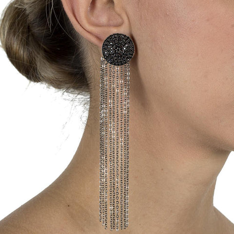 NOAMI BLACK TASSEL EARRING-Earrings-MEZI