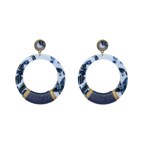 NOELLE BLUE RESIN ROUND EARRINGS