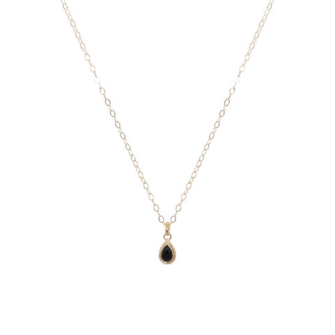 ONYX GOLD FILLED TEAR DROP PENDANT-Necklaces-MEZI