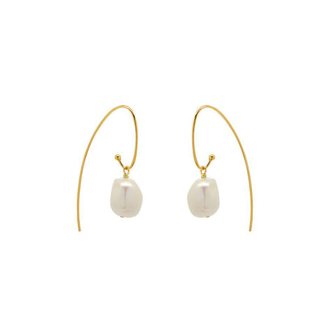 ORION FRESHWATER PEARL GOLD HOOK EARRINGS
