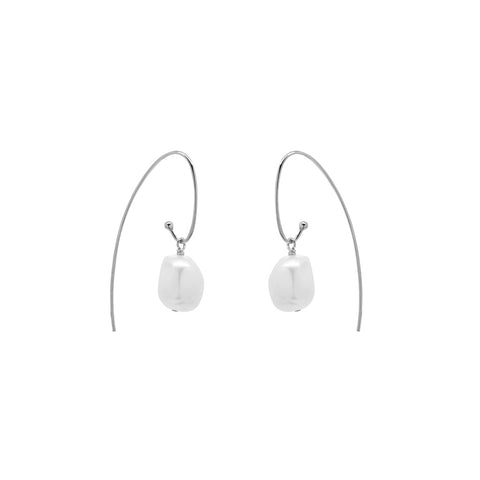 ORION FRESHWATER PEARL SILVER HOOK EARRINGS