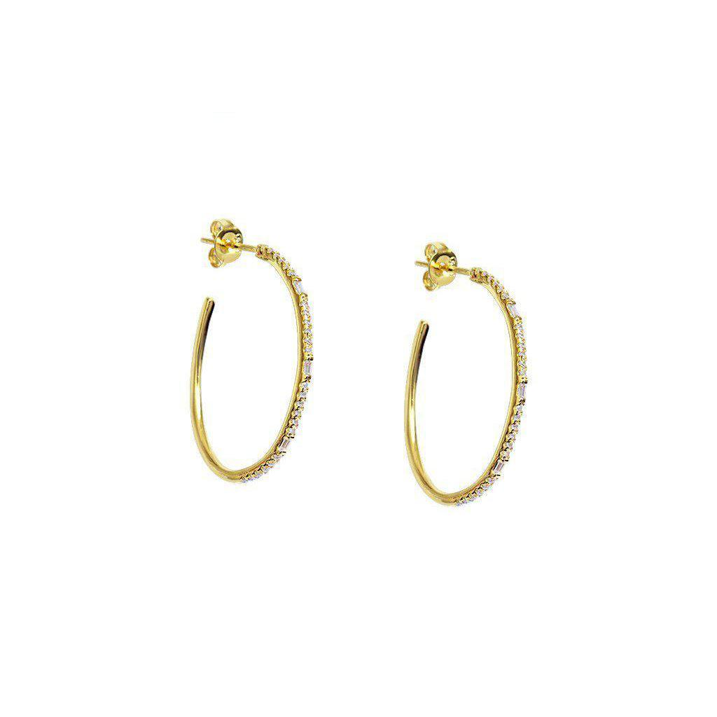 OVAL CRYSTAL GOLD HOOPS EARRINGS