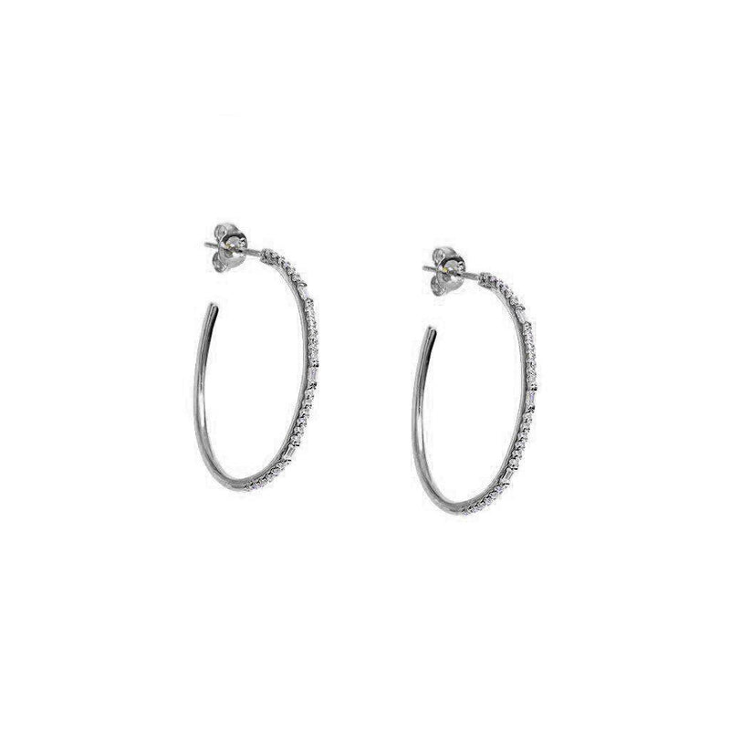 OVAL CRYSTAL SILVER HOOPS EARRINGS