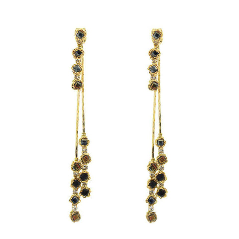 OVE CRYSTAL CHAIN DROP EARRINGS