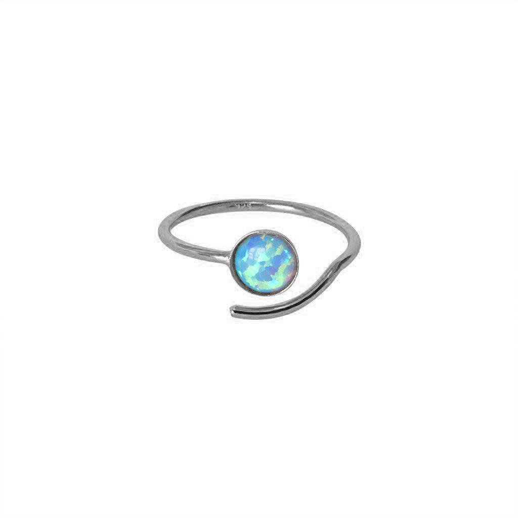 PALINE OPALITE SEMI PRECIOUS STONE ADJUSTABLE STERLING SILVER SILVER RING