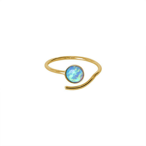 PALINE OPALITE SEMI PRECIOUS STONE ADJUSTABLE GOLD RING