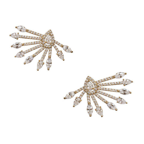 PAON CLEAR CRYSTAL GOLD EARRINGS