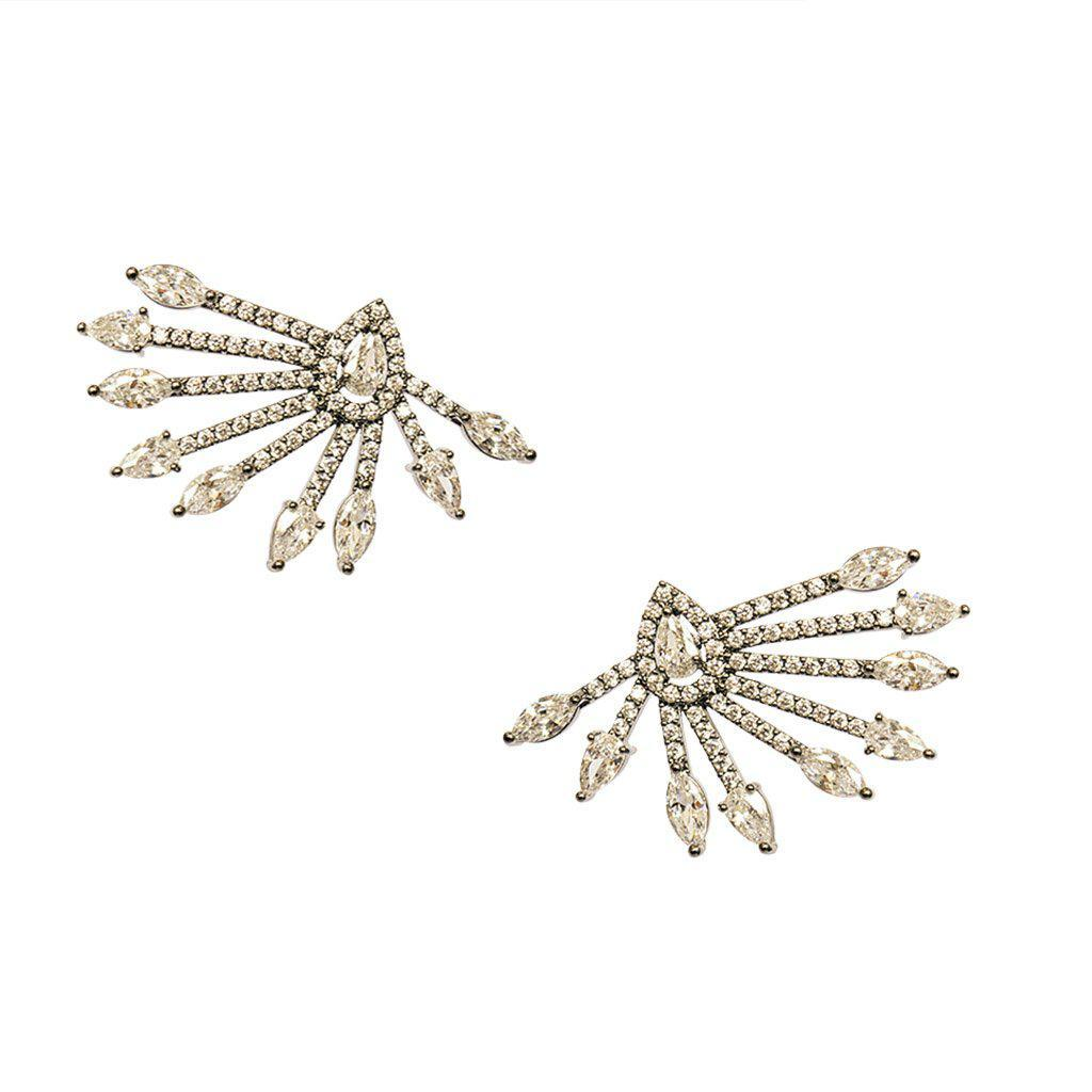 PAON CLEAR CRYSTAL GUNMETAL EARRINGS