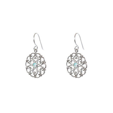 PARI SILVER WHITE OPALITE EARRINGS
