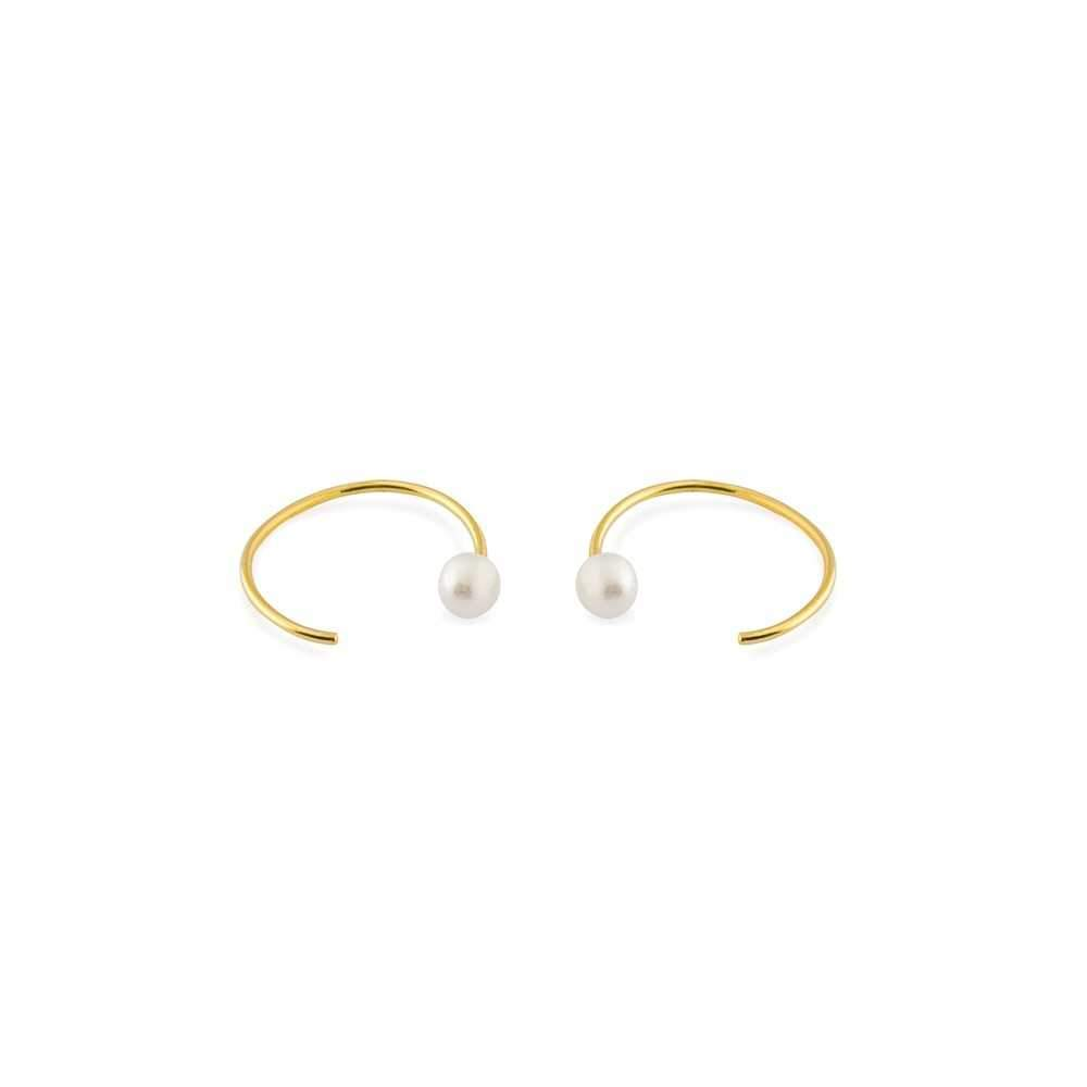 PAX GOLD & PEARL MOON SHAPE EARRINGS-Earrings-MEZI