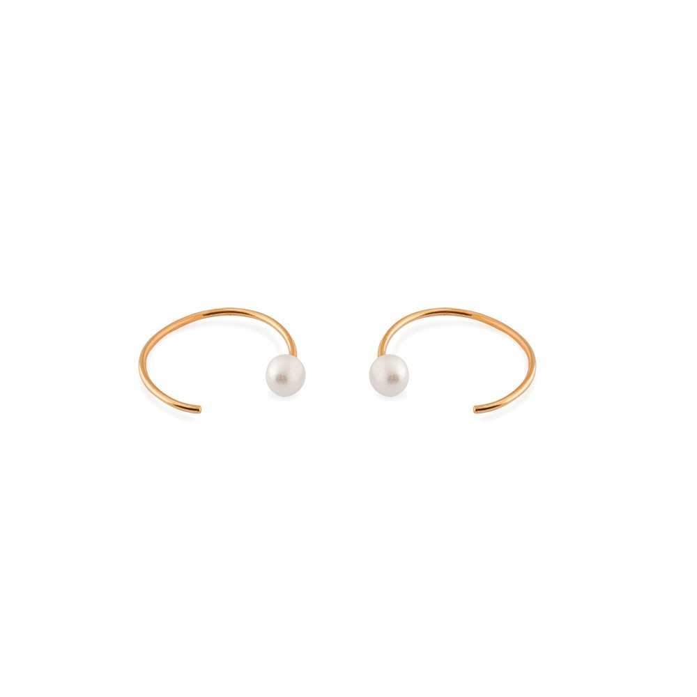 PAX ROSE GOLD & PEARL MOON SHAPE EARRINGS-Earrings-MEZI