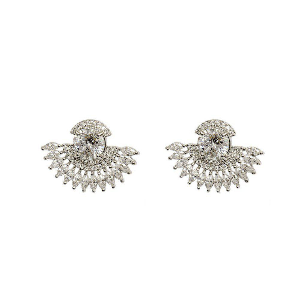 PEACOCK CLEAR CRYSTAL SILVER STUDS