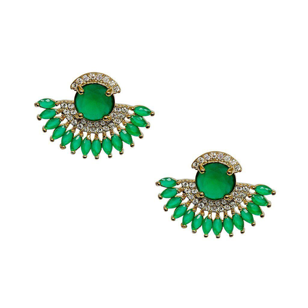 PEACOCK GREEN CRYSTAL STUDS