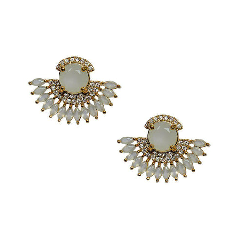 PEACOCK WHITE CRYSTAL STUDS