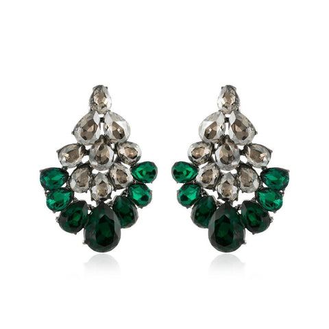 PETRA EMERALD CRYSTAL EARRINGS-Earrings-MEZI