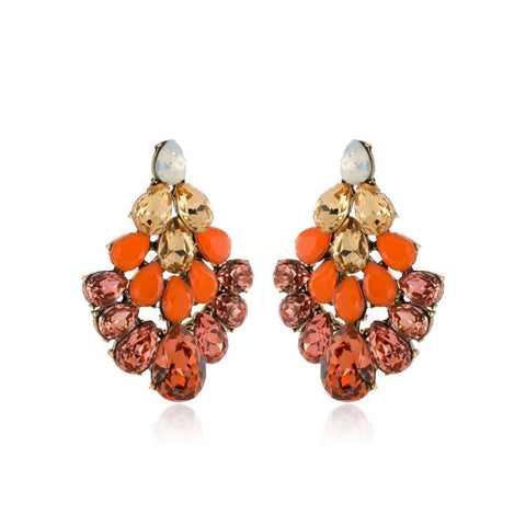 PETRA ORANGE CRYSTAL EARRINGS-Earrings-MEZI