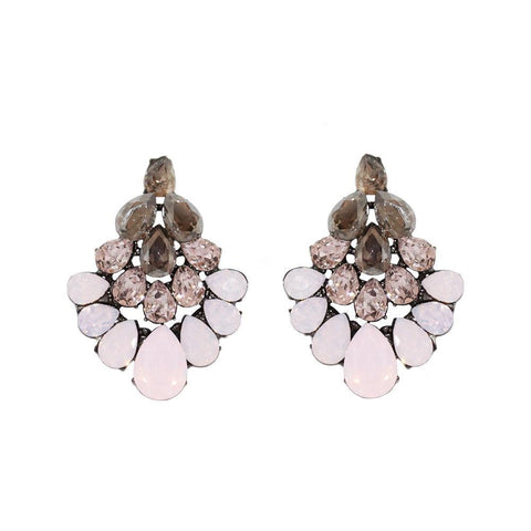 PETRA PINK CRYSTAL EARRINGS-Earrings-MEZI