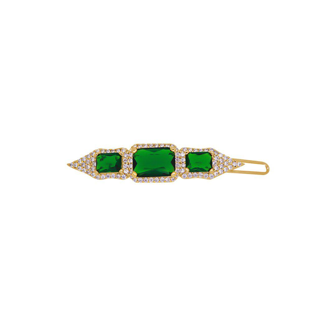 PILAR GREEN CRYSTAL GOLD HAIR CLIP