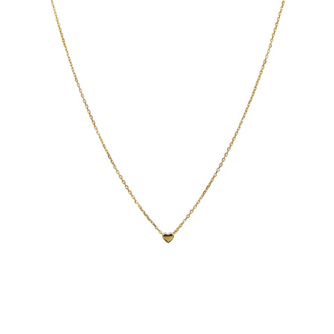 PLAIN LOVE HEART FINE GOLD CHAIN NECKLACE