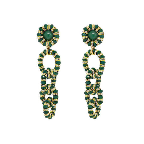 PUNAU GREEN ANTIQUE GOLD DROP EARRINGS