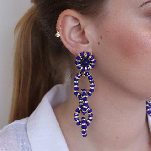 PUNAU BLUE AND ANTIQUE GOLD MAXI EARRINGS