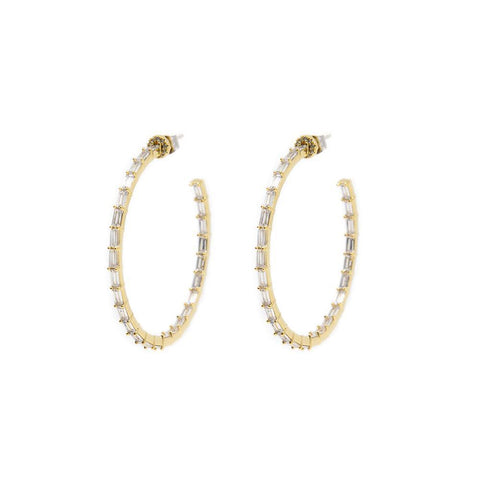 QUIN BAGUETTE GOLD HOOP CRYSTAL EARRINGS