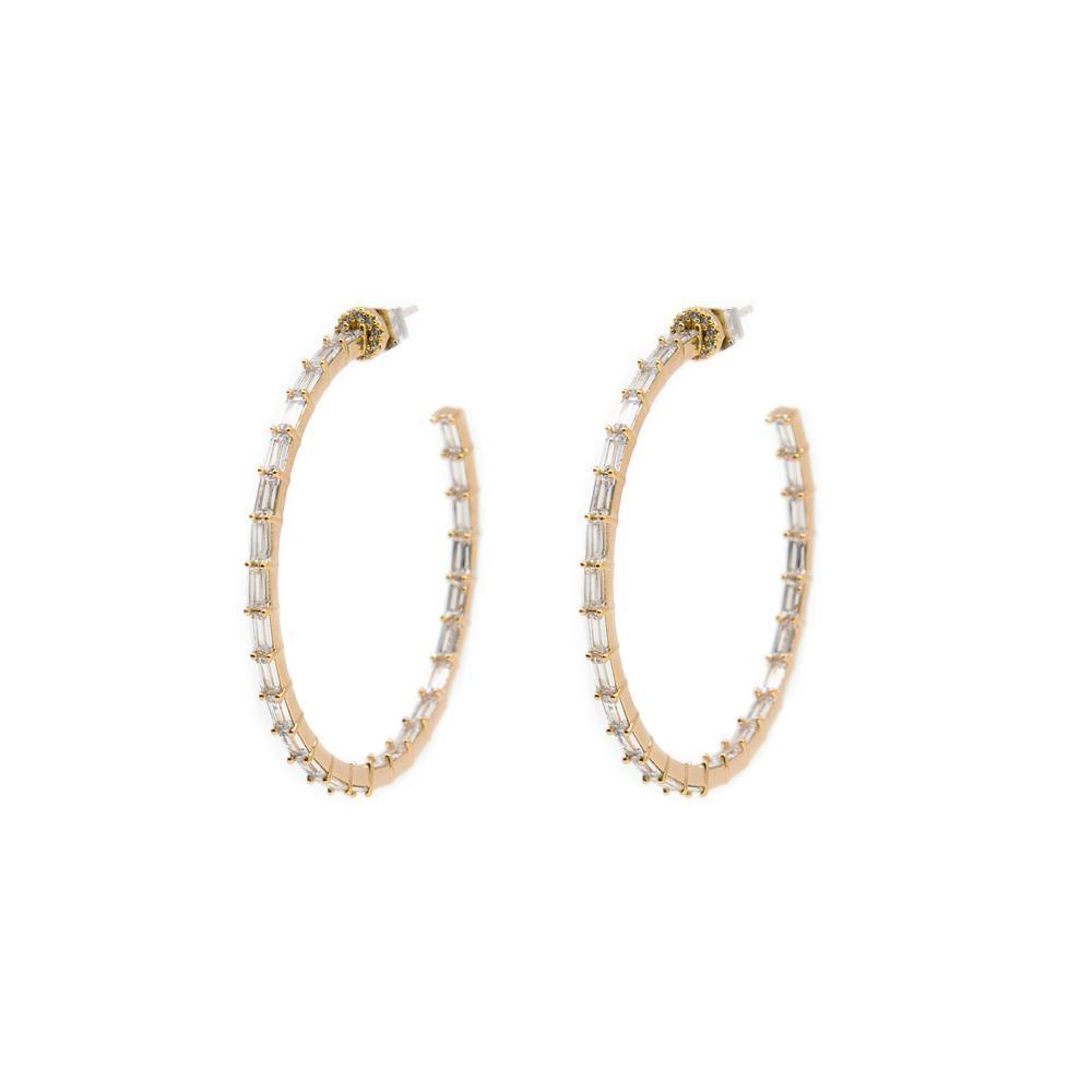 QUIN BAGUETTE ROSE GOLD HOOP CRYSTAL EARRINGS