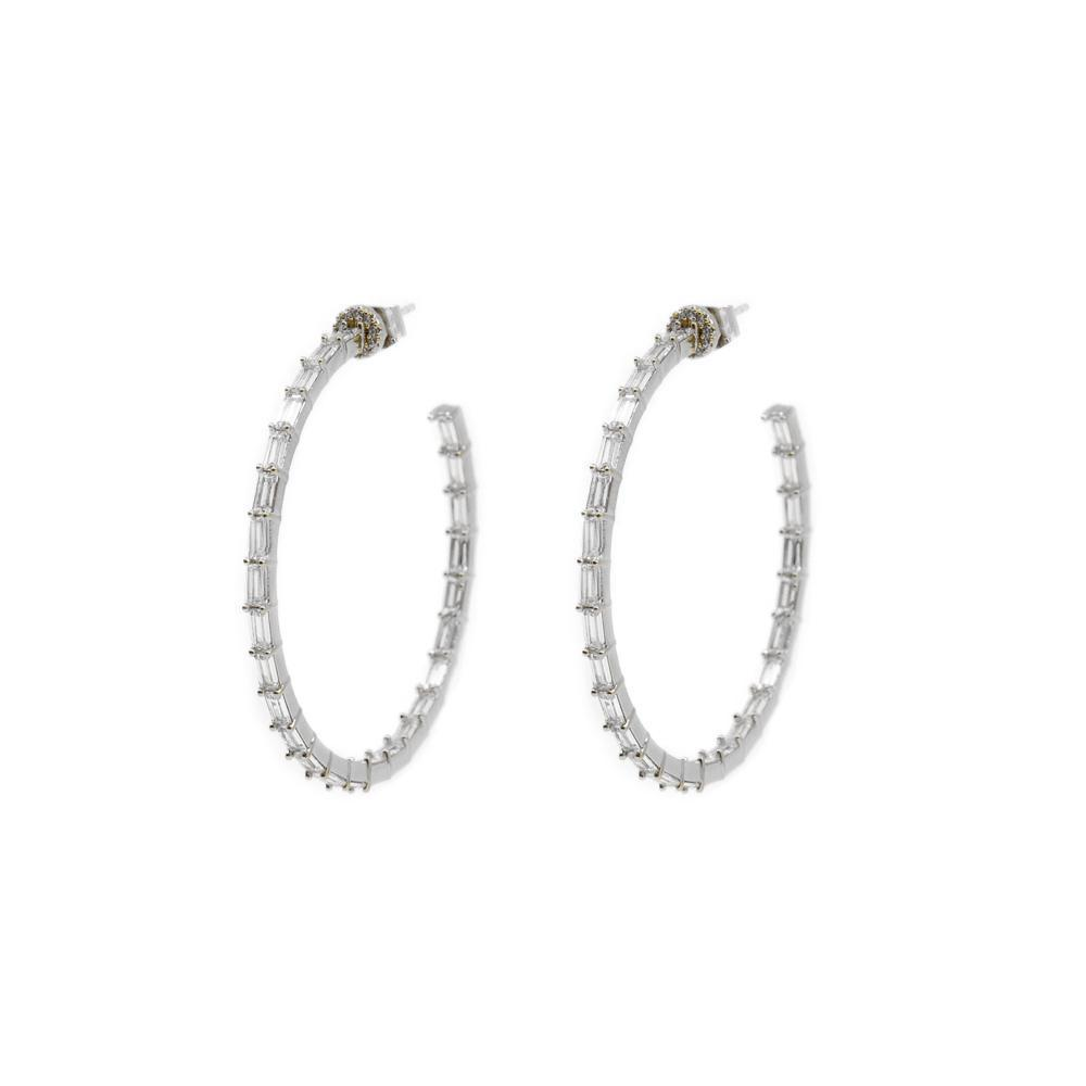 QUIN BAGUETTE SILVER HOOP CRYSTAL EARRINGS