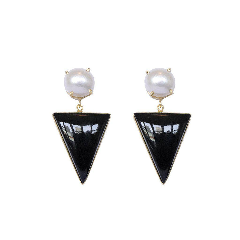 RAEGAN GOLD ONYX SEMI-PRECIOUS EARRINGS