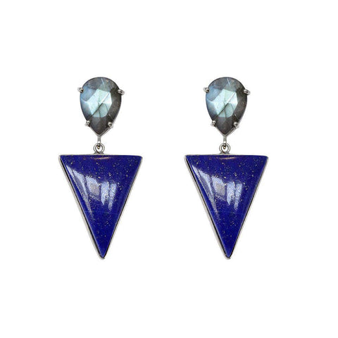 RAEGAN SILVER LAPIS SEMI-PRECIOUS EARRINGS