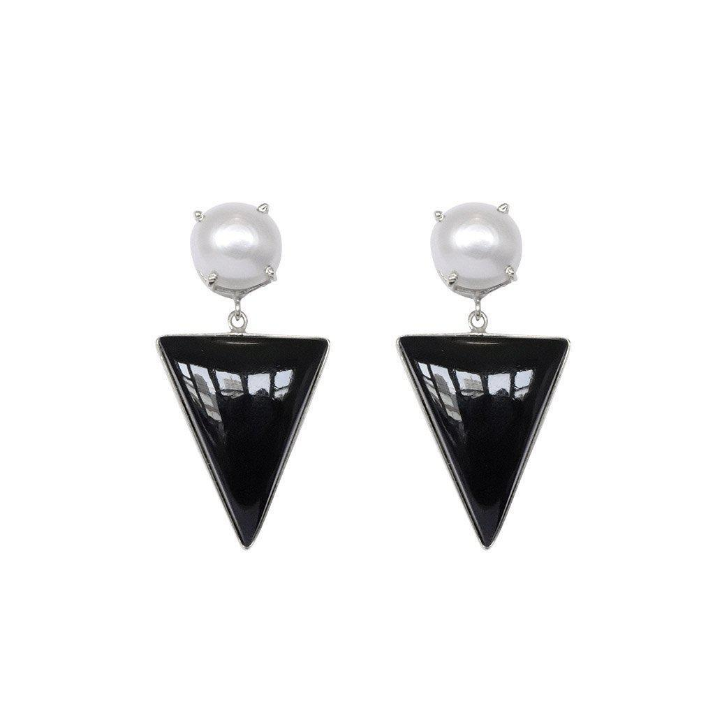 RAEGAN SILVER ONYX SEMI-PRECIOUS EARRINGS