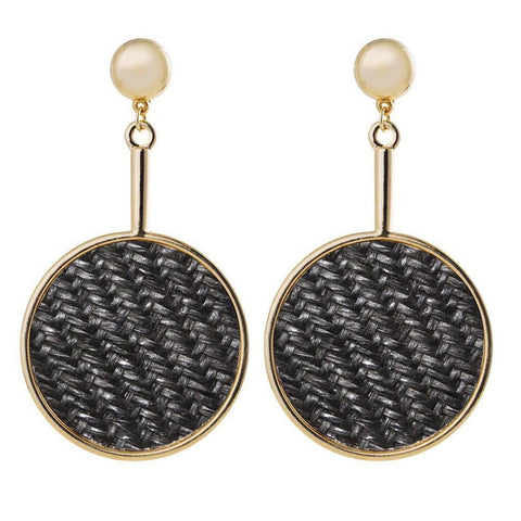 RAINA BLACK DROP STRAW EARRINGS-Earrings-MEZI