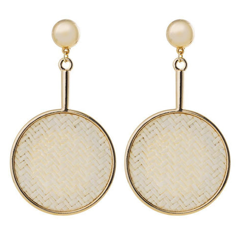 RAINA GOLD DROP STRAW EARRINGS-Earrings-MEZI