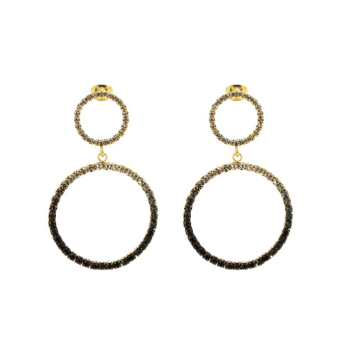RAKELA GOLD DROP CLEAR/BLACK CRYSTAL EARRINGS
