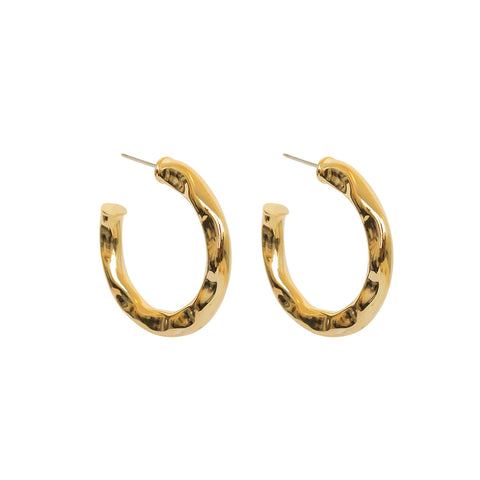 RANZA BEATEN GOLD HOOPS EARRINGS