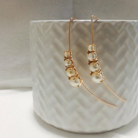 REAGAN FRESHWATER PEARL ROSE GOLD DROP EARRINGS