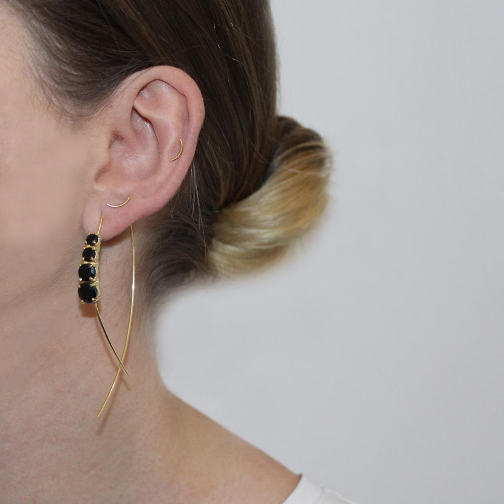REAGAN ONYX GOLD DROP EARRINGS