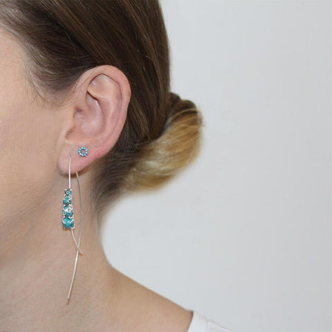 REAGAN TURQUOISE SILVER DROP EARRINGS