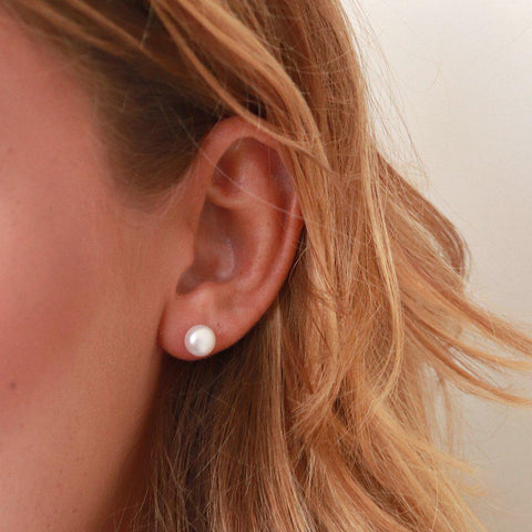 REI LARGE FRESHWATER PEARL STUD EARRINGS