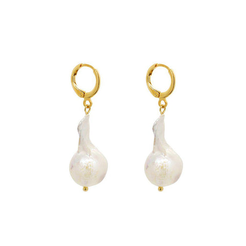 REINE FRESHWATER PEARL GOLD DROP EARRINGS