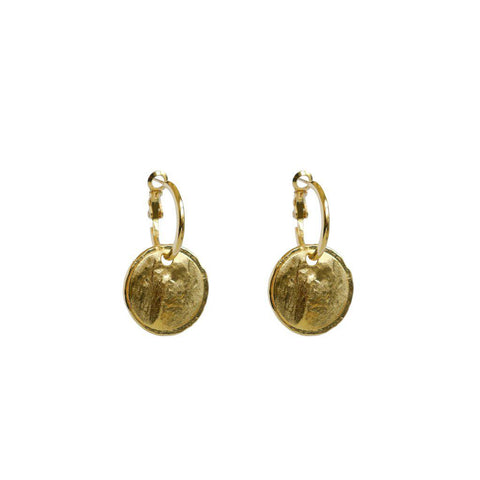 RIIA DROP DISC 2 MICRON GOLD PLATED EARRINGS
