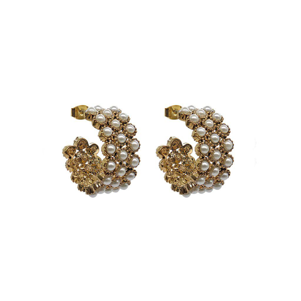 RISA PEARL HOOP EARRINGS