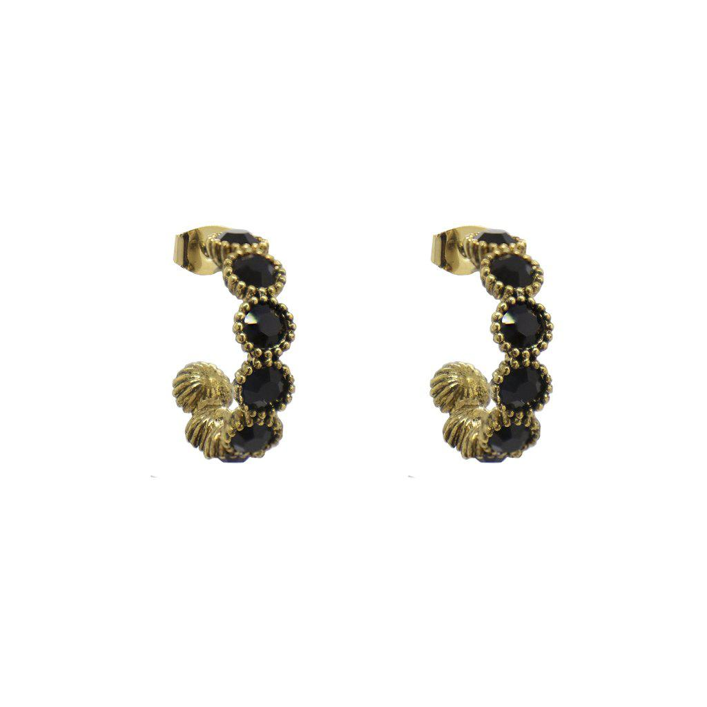 RISA SINGLE BLACK CRYSTAL HOOP EARRINGS